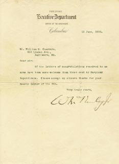 Autographs: PRESIDENT WILLIAM McKINLEY - TYPED LETTER SIGNED 06/12/1893