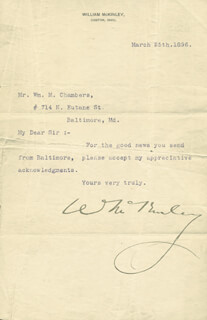 Autographs: PRESIDENT WILLIAM McKINLEY - TYPED LETTER SIGNED 03/25/1896