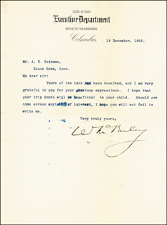 PRESIDENT WILLIAM McKINLEY - TYPED LETTER SIGNED 12/19/1895