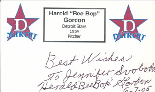 Autographs: HAROLD BEE BOP GORDON - AUTOGRAPH NOTE SIGNED 06/07/2005