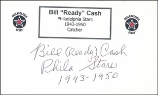 Autographs: BILL READY CASH - PRINTED CARD SIGNED IN INK