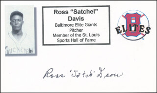 Autographs: ROSS SATCHEL DAVIS - PRINTED CARD SIGNED IN INK