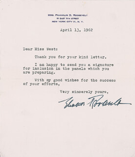 FIRST LADY ELEANOR ROOSEVELT - TYPED LETTER SIGNED 04/13/1932