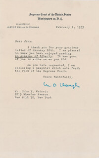 Autographs: ASSOCIATE JUSTICE WILLIAM O. DOUGLAS - TYPED LETTER SIGNED 02/02/1955