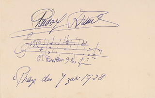 RUDOLF FRIML - AUTOGRAPH MUSICAL QUOTATION SIGNED 09/07/1928