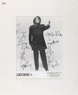 JAMES GODFATHER OF SOUL BROWN - INSCRIBED PRINTED PHOTOGRAPH SIGNED IN INK