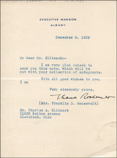 FIRST LADY ELEANOR ROOSEVELT - TYPED LETTER SIGNED 12/09/1932