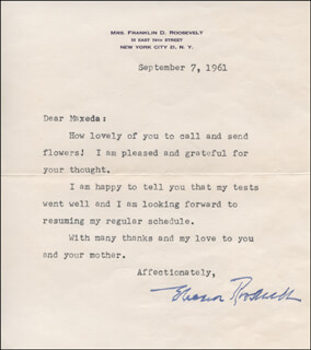FIRST LADY ELEANOR ROOSEVELT - TYPED LETTER SIGNED 09/07/1961