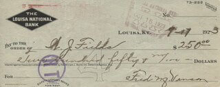 CHIEF JUSTICE FRED M. VINSON - AUTOGRAPHED SIGNED CHECK 09/17/1923