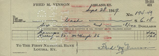 CHIEF JUSTICE FRED M. VINSON - AUTOGRAPHED SIGNED CHECK 09/28/1949