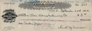 Autographs: CHIEF JUSTICE FRED M. VINSON - CHECK SIGNED 09/29/1923