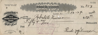 CHIEF JUSTICE FRED M. VINSON - AUTOGRAPHED SIGNED CHECK 12/27/1923 CO-SIGNED BY: ROBERTA D. VINSON