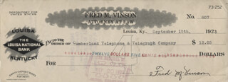 Autographs: CHIEF JUSTICE FRED M. VINSON - CHECK SIGNED 09/15/1923