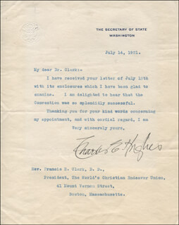CHIEF JUSTICE CHARLES E HUGHES - TYPED LETTER SIGNED 07/14/1921