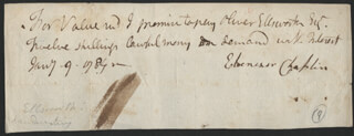CHIEF JUSTICE OLIVER ELLSWORTH - THIRD PERSON AUTOGRAPH DOCUMENT 01/09/1784