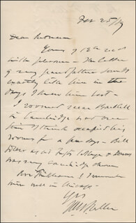 CHIEF JUSTICE MELVILLE W. FULLER - AUTOGRAPH LETTER SIGNED 02/25/1889