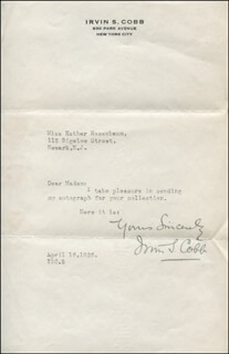 Autographs: IRVIN S. COBB - TYPED LETTER SIGNED 04/16/1926