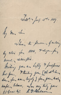 RICHARD D. BLACKMORE - AUTOGRAPH LETTER SIGNED 01/03/1889