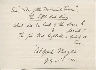 ALFRED NOYES - AUTOGRAPH QUOTATION SIGNED 07/22/1914