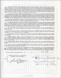 JIMMY SCHNOZZOLA DURANTE - DOCUMENT SIGNED BY A DEPUTY 02/10/1976 CO-SIGNED BY: MARGARET A. (MRS. JIMMY) DURANTE