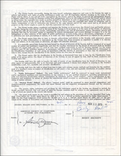 BUDDY HACKETT - DOCUMENT SIGNED 11/11/1975