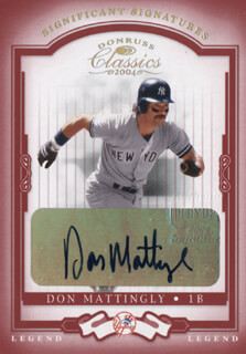 Autographs: DON MATTINGLY - TRADING/SPORTS CARD SIGNED