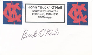 BUCK (JOHN) O'NEIL - PRINTED CARD SIGNED IN INK