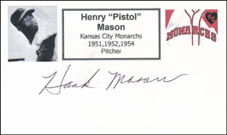HENRY PISTOL MASON - PRINTED CARD SIGNED IN INK