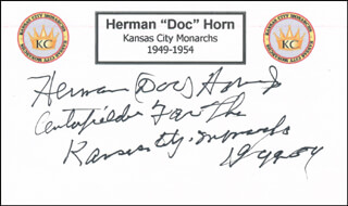 HERMAN DOC HORN - PRINTED CARD SIGNED IN INK