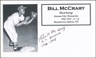 BILL YOUNGBLOOD MCCRARY - PRINTED CARD SIGNED IN INK