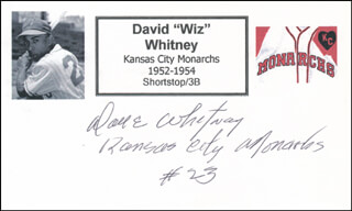 DAVE WIZ WHITNEY - PRINTED CARD SIGNED IN INK