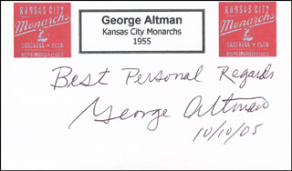GEORGE ALTMAN - AUTOGRAPH SENTIMENT SIGNED 10/10/2005  - HFSID 327937