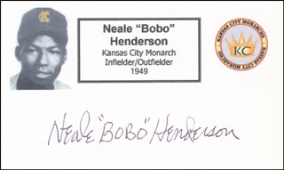 NEALE BOBO HENDERSON - PRINTED CARD SIGNED IN INK