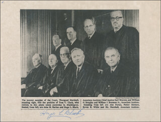 Autographs: ASSOCIATE JUSTICE HUGO L. BLACK - PRINTED PHOTOGRAPH SIGNED IN INK