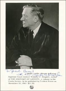 Autographs: ASSOCIATE JUSTICE WILLIAM O. DOUGLAS - PRINTED PHOTOGRAPH SIGNED IN INK