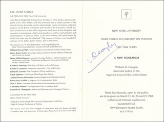 Autographs: ASSOCIATE JUSTICE WILLIAM O. DOUGLAS - PROGRAM SIGNED CIRCA 1968