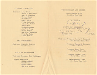 Autographs: ASSOCIATE JUSTICE WILLIAM O. DOUGLAS - PROGRAM SIGNED CIRCA 1970 CO-SIGNED BY: CATHLEEN (MRS. WILLIAM O.) DOUGLAS