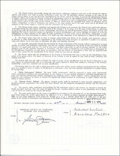ARCHIBALD MacLEISH - CONTRACT DOUBLE SIGNED 08/25/1975