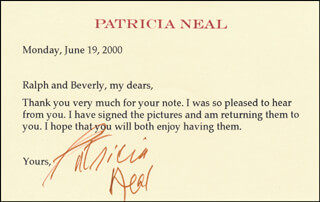 PATRICIA NEAL - TYPED LETTER SIGNED 06/19/2000
