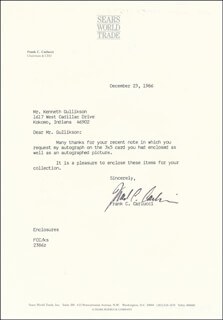 Autographs: FRANK C. CARLUCCI - TYPED LETTER SIGNED 12/23/1986