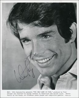 WARREN BEATTY - PRINTED PHOTOGRAPH SIGNED IN INK