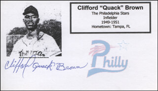 CLIFFORD QUACK BROWN - PRINTED CARD SIGNED IN INK
