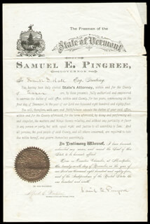 Autographs: GOVERNOR SAMUEL E. PINGREE - CIVIL APPOINTMENT SIGNED 11/29/1884