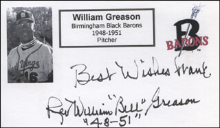 WILLIAM GREASON - AUTOGRAPH NOTE SIGNED