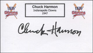 CHUCK HARMON - PRINTED CARD SIGNED IN INK