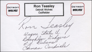 RON TEASLEY - PRINTED CARD SIGNED IN INK