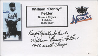 Autographs: WILLIAM BENNY FELDER - AUTOGRAPH NOTE SIGNED
