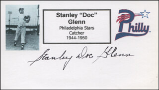 STANLEY DOC GLENN - PRINTED CARD SIGNED IN INK