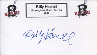 BILLY HARRELL - PRINTED CARD SIGNED IN INK