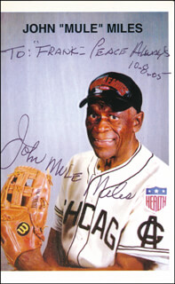 JOHN MULE MILES - INSCRIBED PRINTED PHOTOGRAPH SIGNED IN INK 10/08/2005
